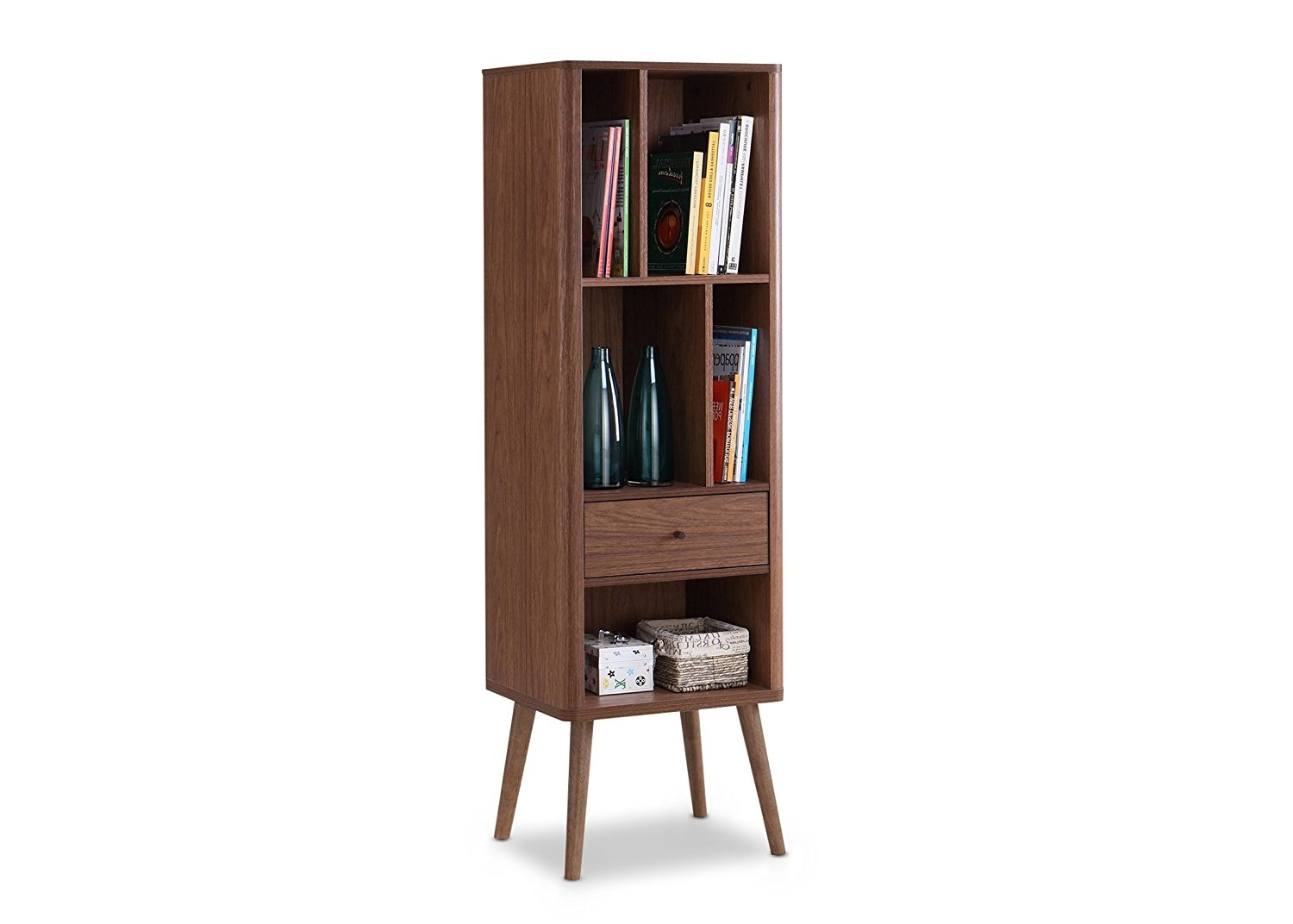 Amazon: Baxton Furniture Studios Ellingham Mid Century Retro Pertaining To Best And Newest Midcentury Bookcases (View 12 of 15)