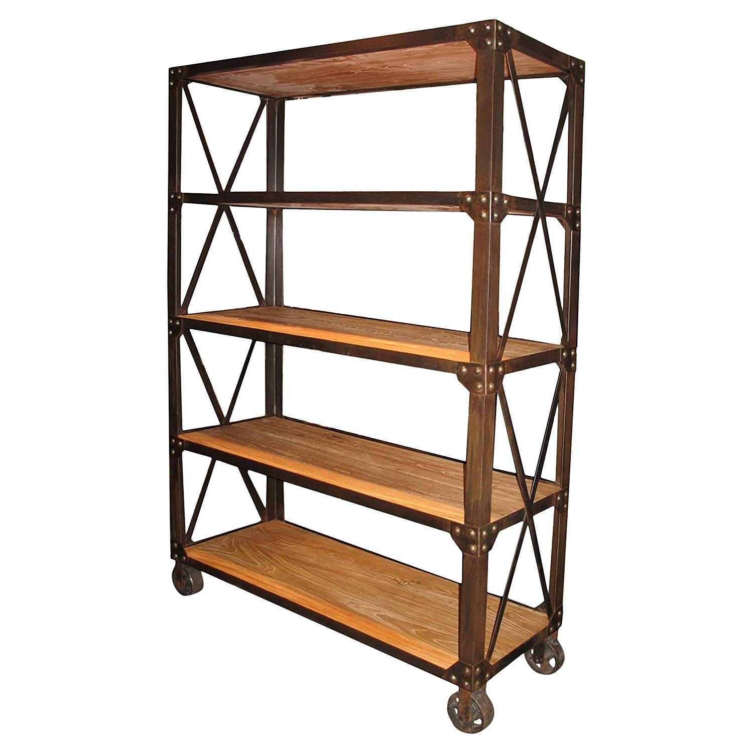 Amazon: Chorley Industrial Rustic Metal Wood Rolling Bookcase Inside Preferred Industrial Style Bookcases (View 5 of 15)