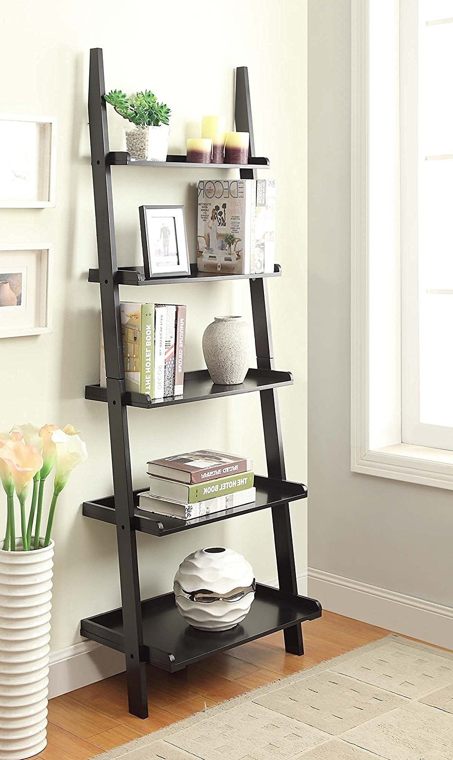 Amazon: Convenience Concepts American Heritage Bookshelf In Widely Used Leaning Ladder Bookcases (View 4 of 15)