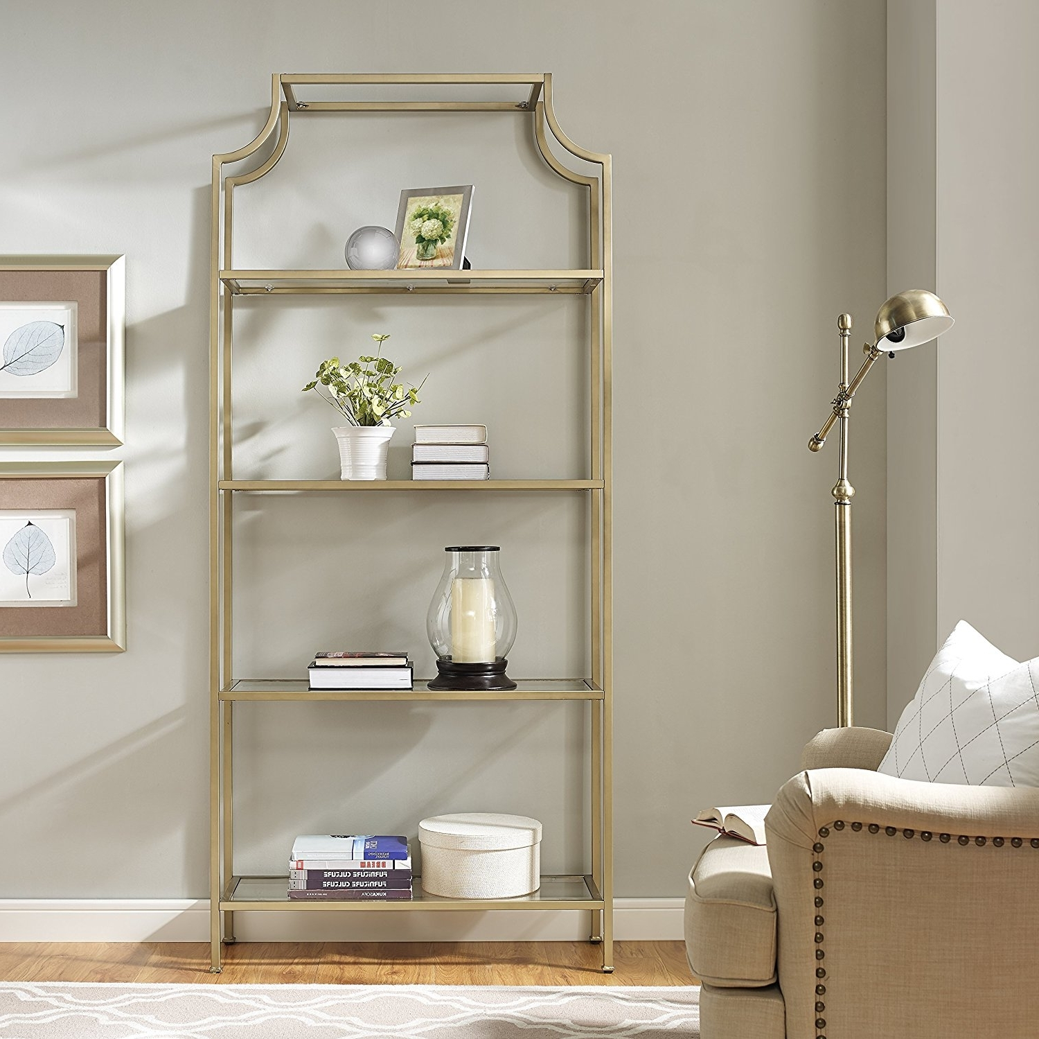 Amazon: Crosley Furniture Aimee Etagere Bookcase – Gold And Inside Newest Gold Metal Bookcases (View 12 of 15)