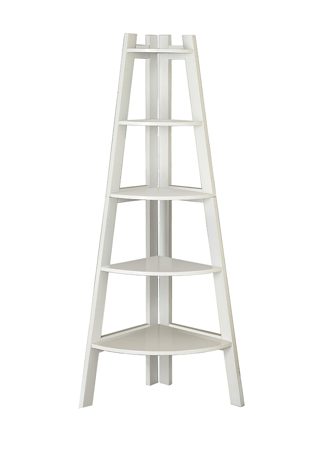 Amazon: Furniture Of America Andrea 5 Tier Corner Bookshelf Inside Favorite White Ladder Bookcases (View 2 of 15)