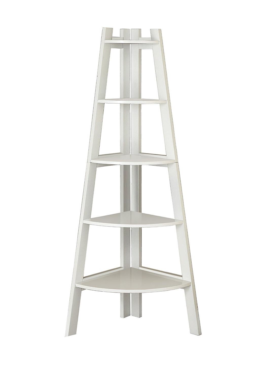 Amazon: Furniture Of America Andrea 5 Tier Corner Bookshelf Pertaining To 2018 White Ladder Shelf (View 2 of 15)