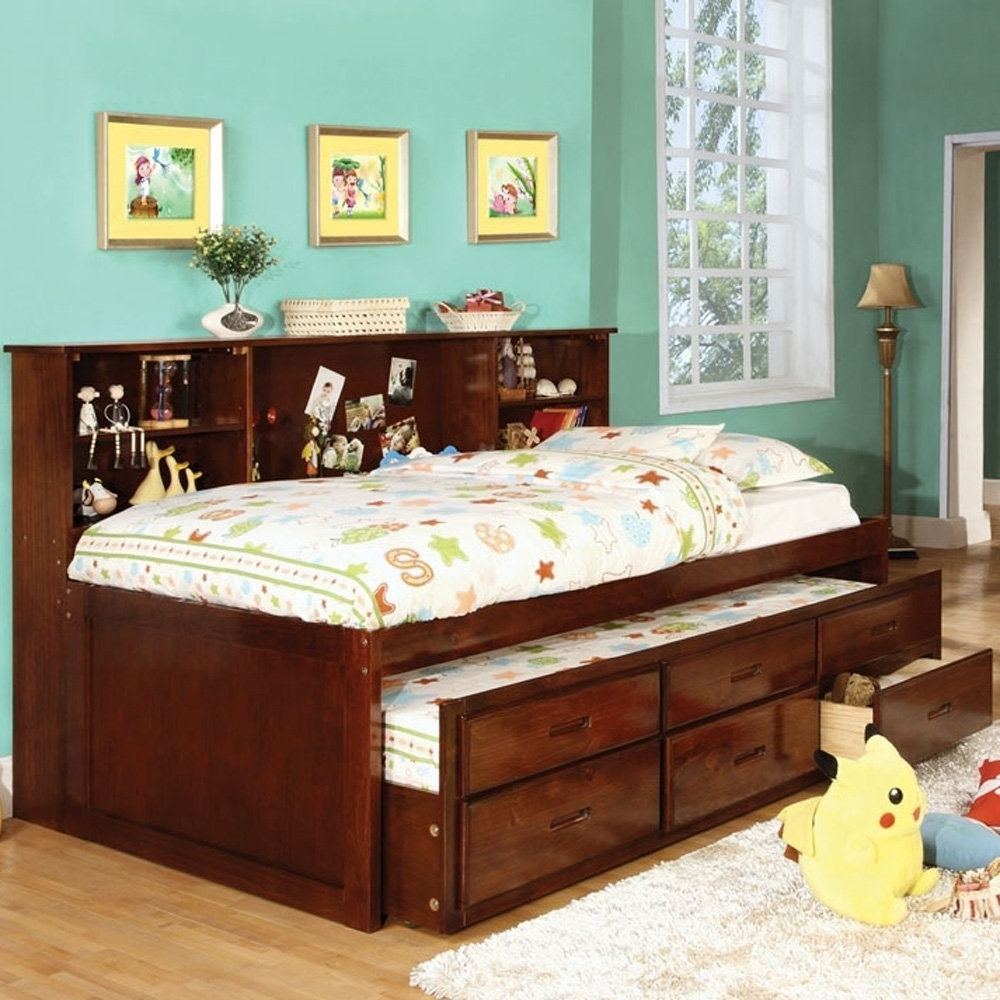 Amazon: Hardin Twin Size Bookcase Bed W/ Trundle And 3 Drawers With Regard To Most Recent Twin Bed With Bookcases Headboard (View 9 of 15)