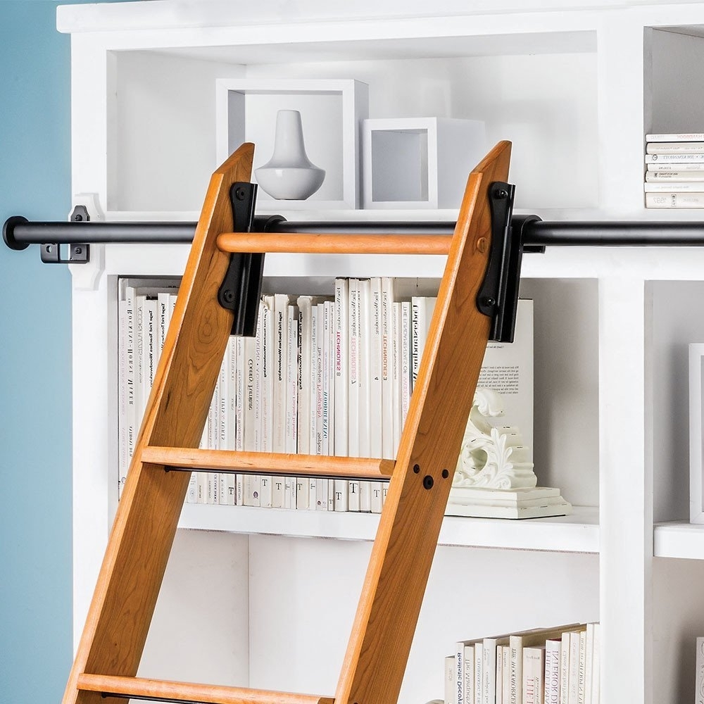Amazon: Rockler Classic Rolling Library Ladder Kit, 8'h With Pertaining To Latest Sliding Library Ladder (View 1 of 15)