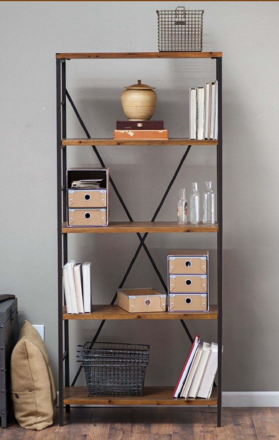 Amazon: Rustic Wood Bookcase With Adjustable Shelves Featuring Intended For Popular Amazon Bookcases (View 6 of 15)