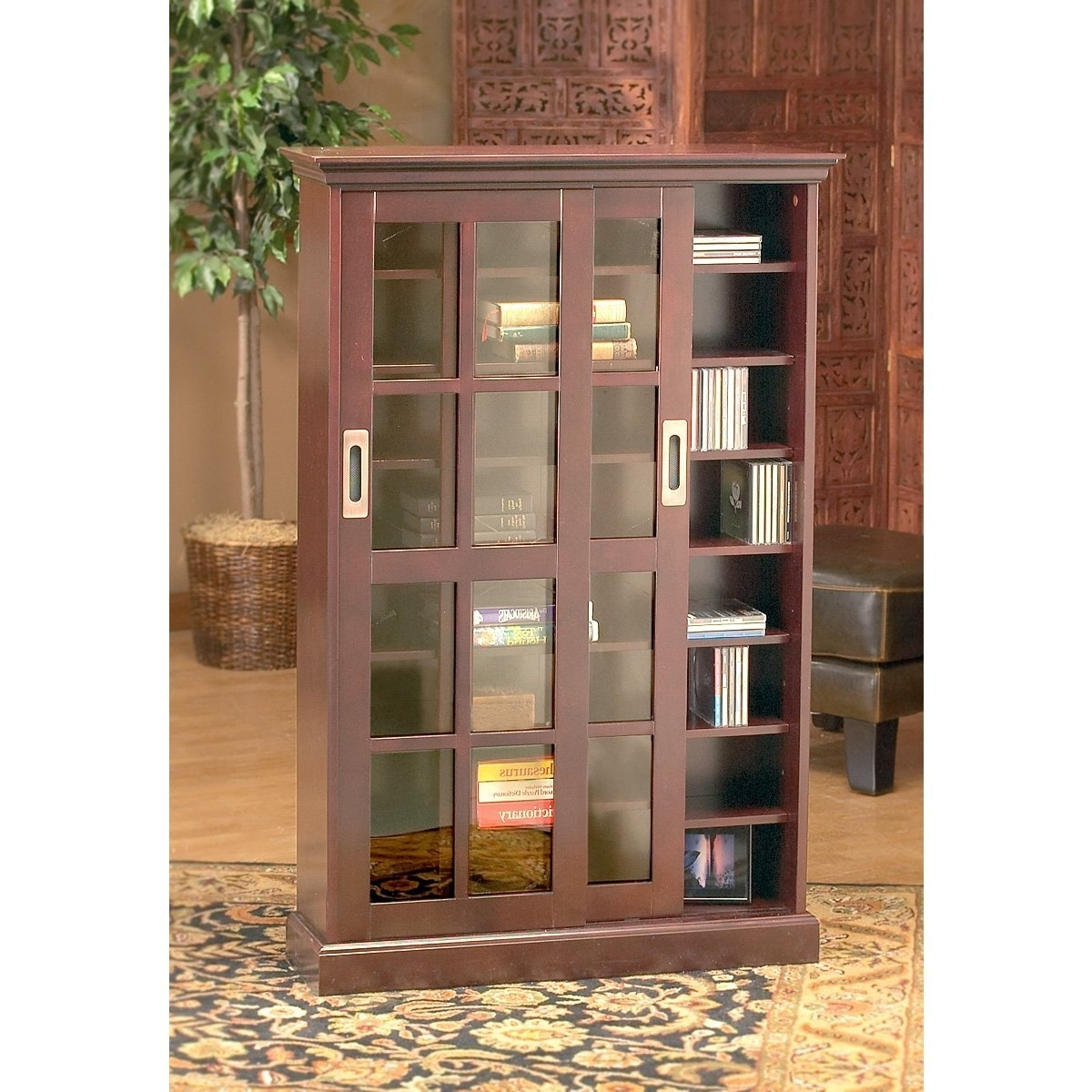 Amazon: Sliding Door Media Cabinet: Kitchen & Dining For Most Current Bookcases With Sliding Glass Doors (View 15 of 15)