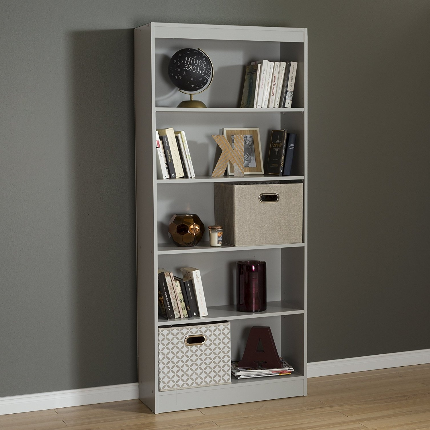 Amazon: South Shore Axess 5 Shelf Bookcase, Soft Gray: Kitchen With Regard To Favorite Amazon Bookcases (View 7 of 15)