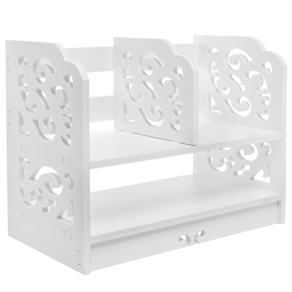 Amazon: White Wood Openwork Freestanding Book Shelf / Desk Top Within Fashionable Free Standing White Shelves (View 3 of 15)