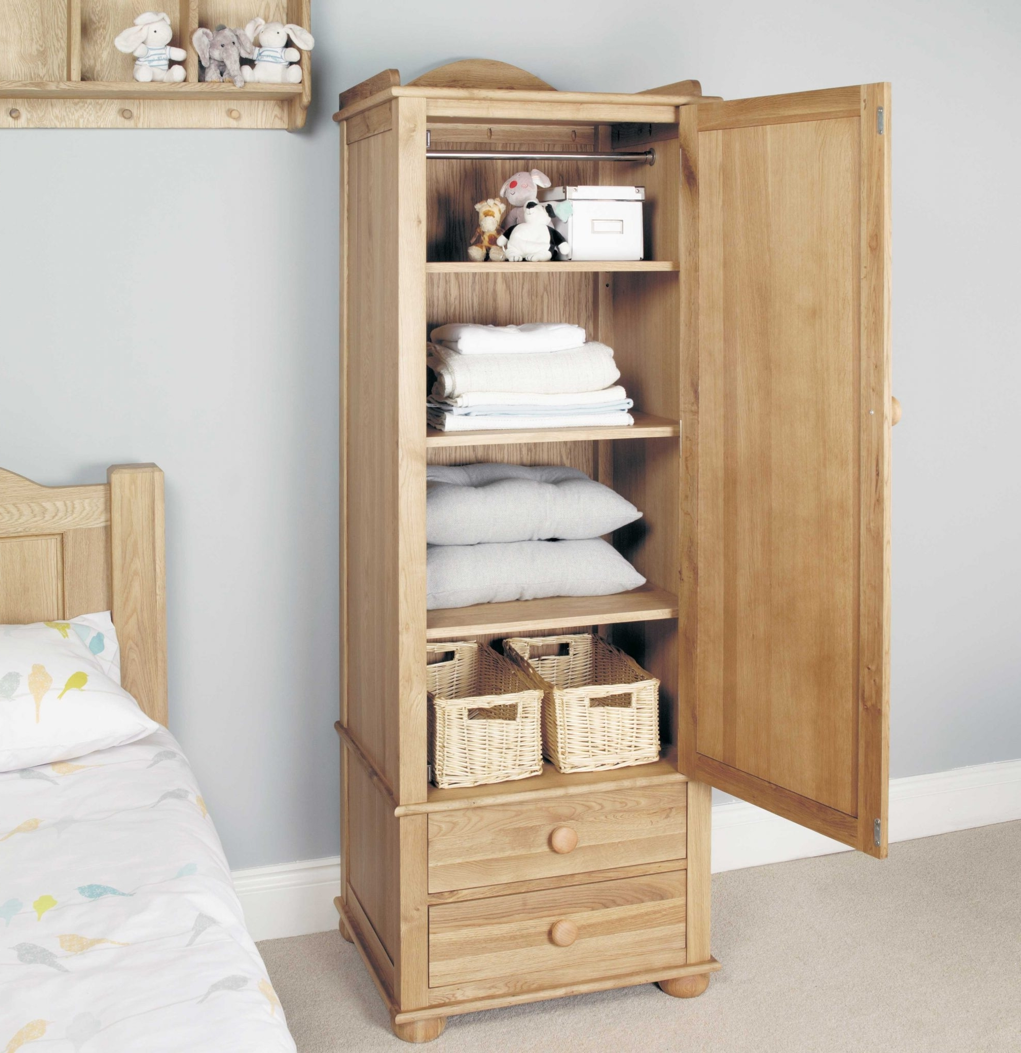 Amelie Oak Children's Single Wardrobe – 2 Drawers (View 4 of 15)