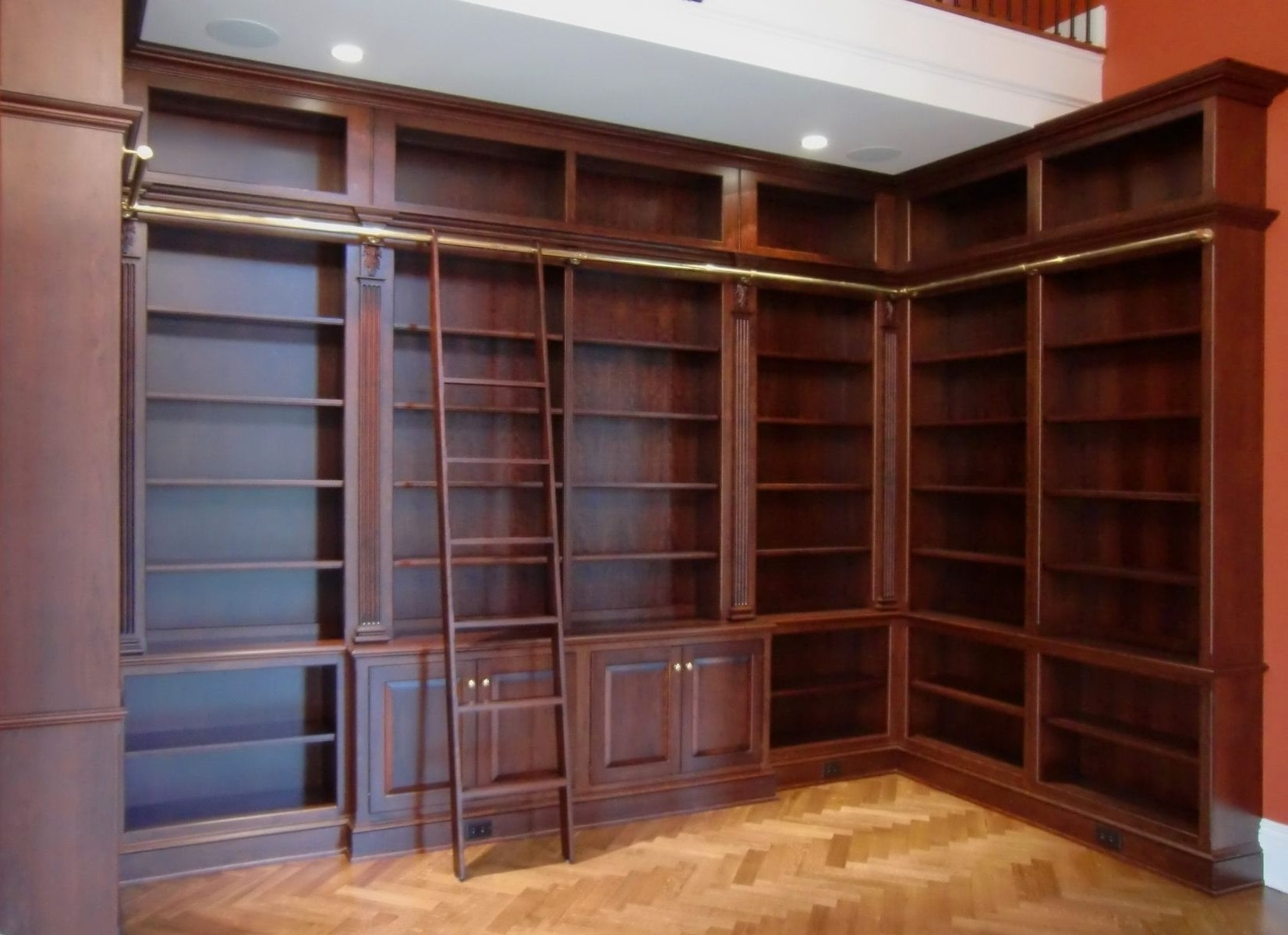 American Hwy Inside Bookcases With Ladder And Rail (View 12 of 15)