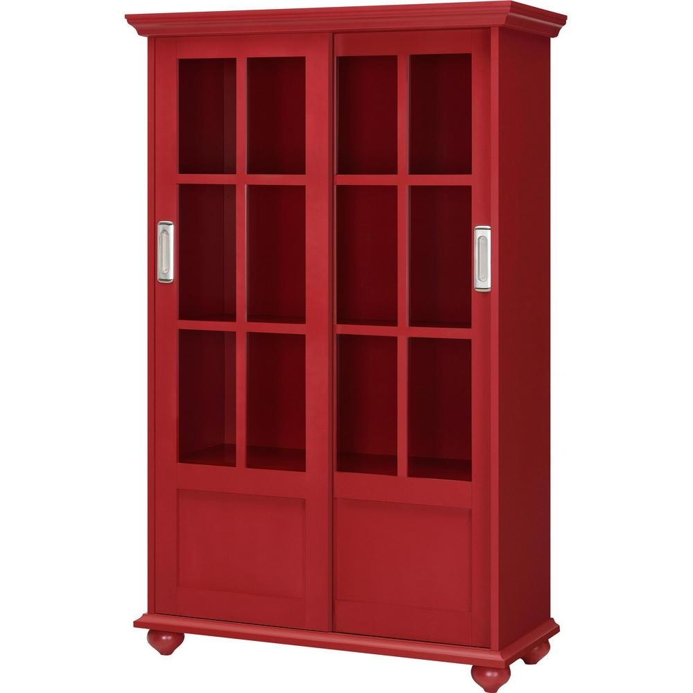 Ameriwood Home Abel Place Red Glass Door Bookcase Hd07372 – The With Regard To Well Liked Red Bookcases (View 2 of 15)