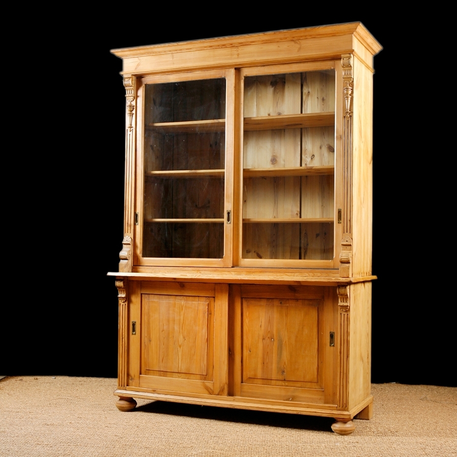 Antique Bookcase In Pine With Glass Doors, C (View 12 of 15)