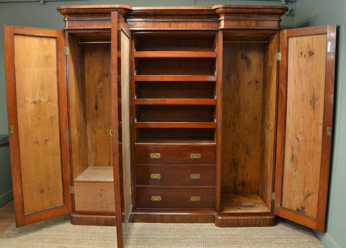 Antique Breakfront Wardrobes For 2018 Large Victorian Mahogany Antique Triple Wardrobe – Antiques World (View 3 of 15)