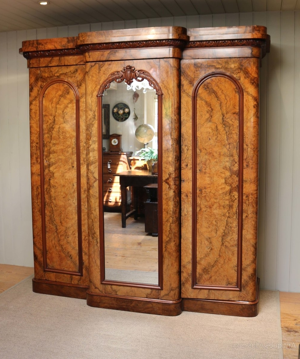 Antique Breakfront Wardrobes In Newest Mid Victorian Burr Walnut Break Front Wardrobe – Antiques Atlas (View 4 of 15)