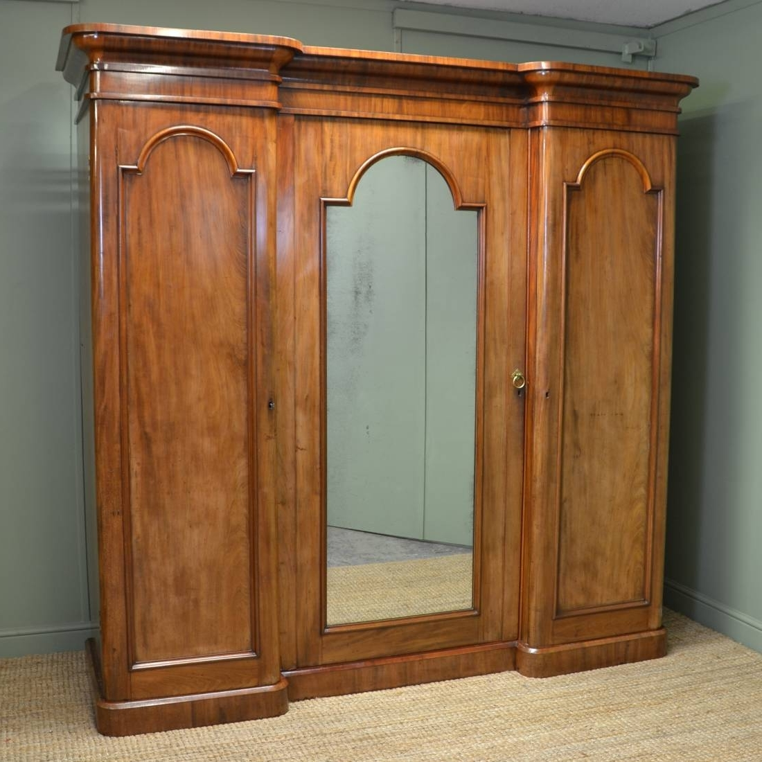 Antique Breakfront Wardrobes Inside Fashionable Large Victorian Mahogany Antique Triple Wardrobe – Antiques World (View 6 of 15)
