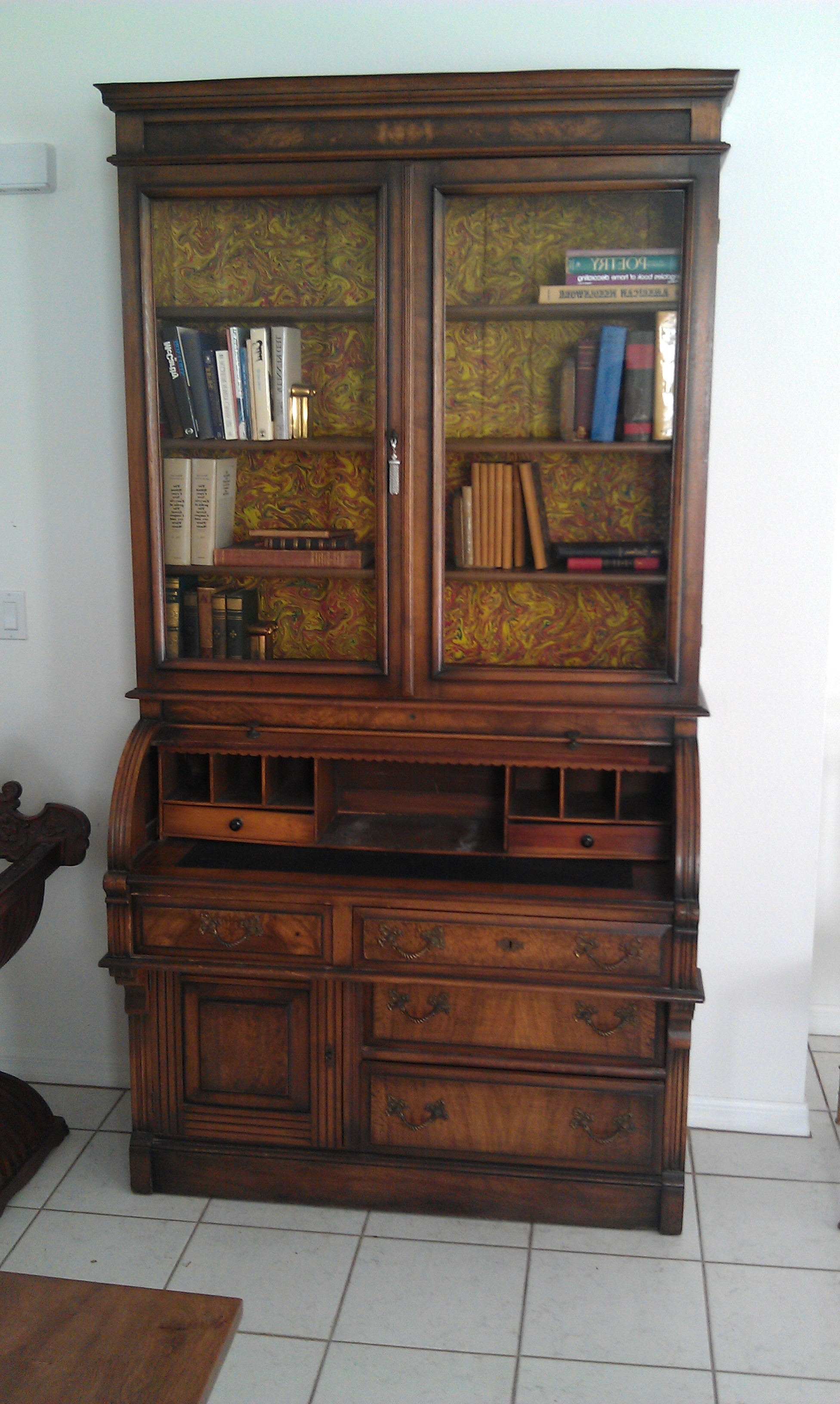 Antique Secretary Desk Bookcase Very Fine 1870 1900 Roll Top Desk Within 2018 Antique Secretary Desk With Bookcases (View 8 of 15)