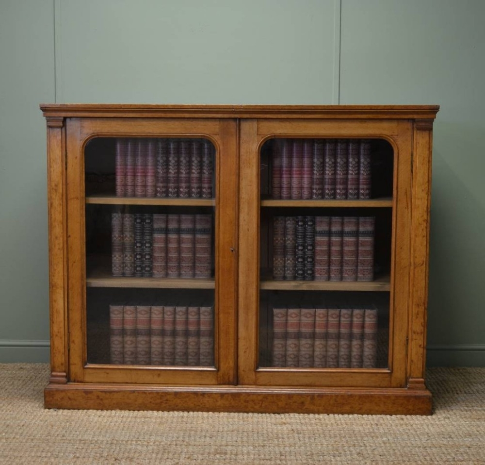 Antique Victorian Characterful Oak Glazed Bookcase / Cupboard Inside Famous Glazed Bookcases (View 3 of 15)