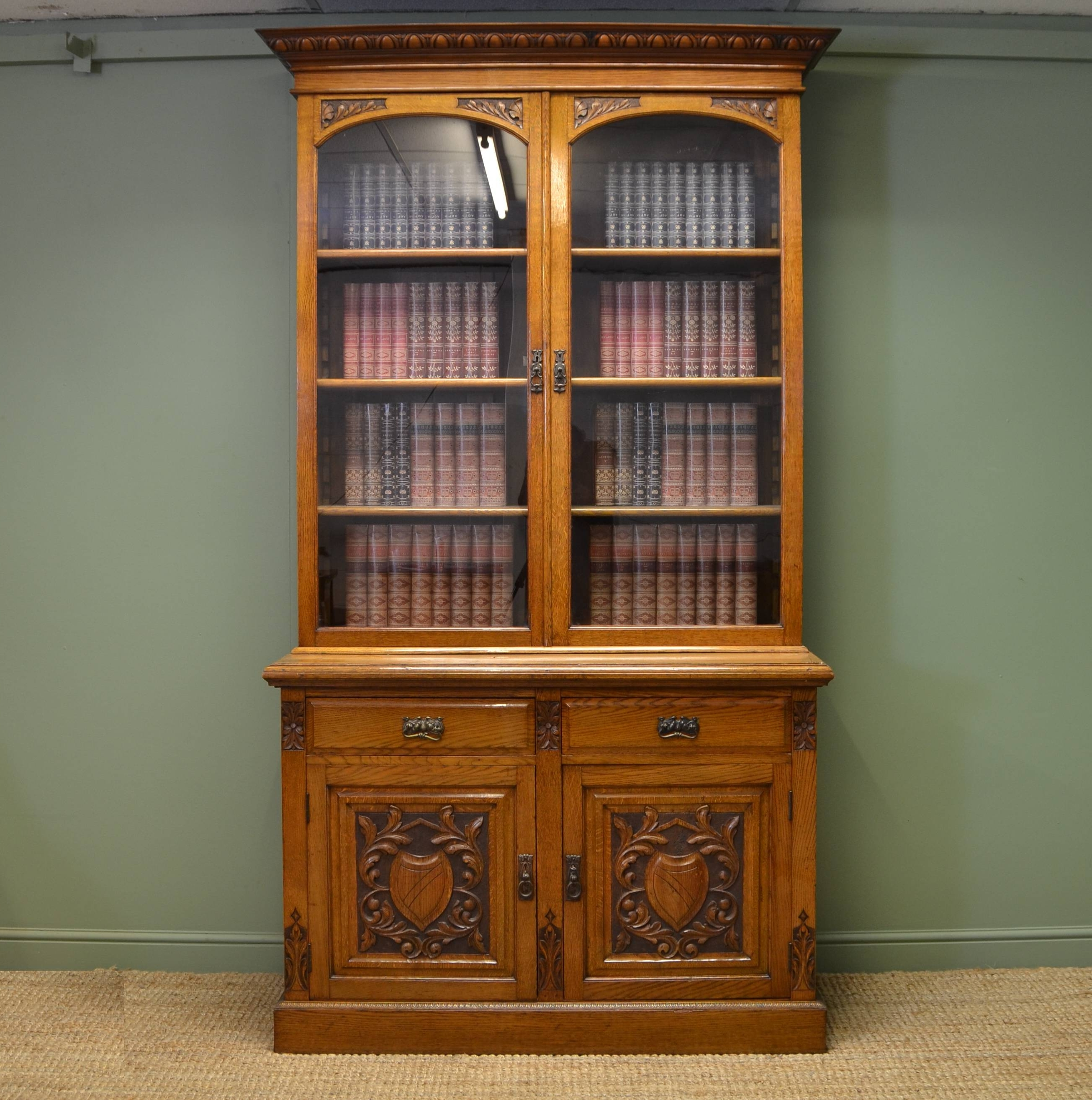Antique Victorian Flame Mahogany Bookcase Circa At Stdibs Within Recent Bookcases With Cupboard (View 2 of 15)