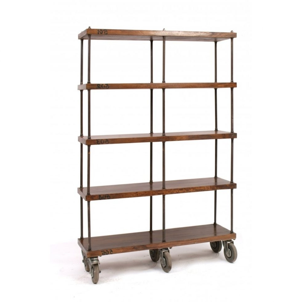 Apartments : Modern Silver Metal And Wood Rolling Bookcase With Throughout Fashionable Rolling Bookcases (View 8 of 15)