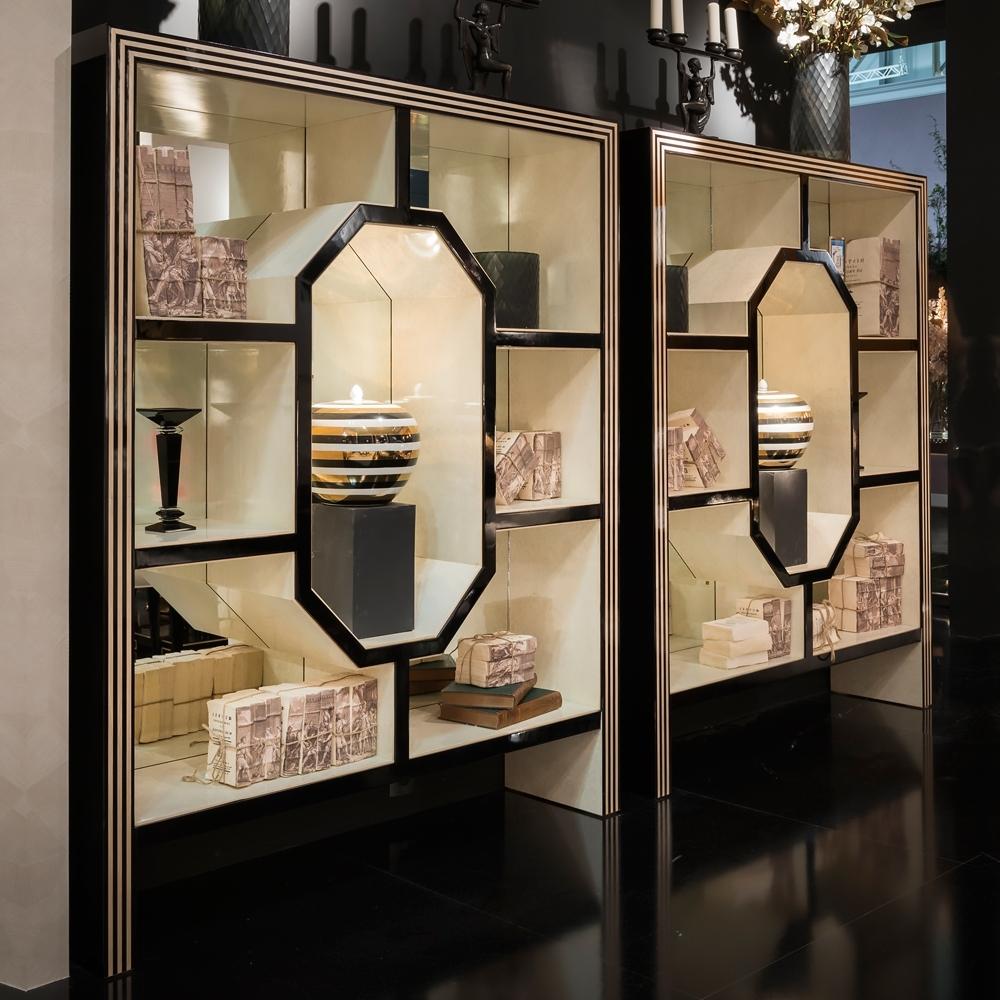 Art Deco Mirrored Bird's Eye Maple Veneered Bookshelves Pertaining To Popular Mirrored Bookcases (View 1 of 15)