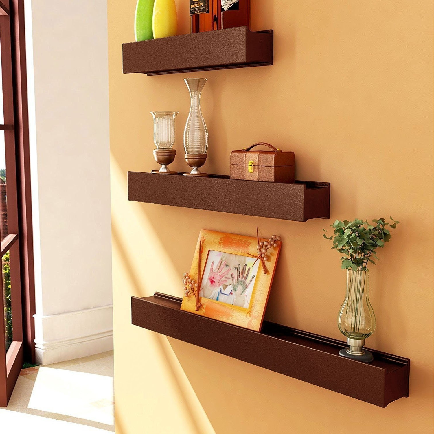 Artesia Brown Wooden Wall Shelf / Display Rack Shelf (set Of Three For Most Current Wooden Wall Shelves (View 7 of 15)