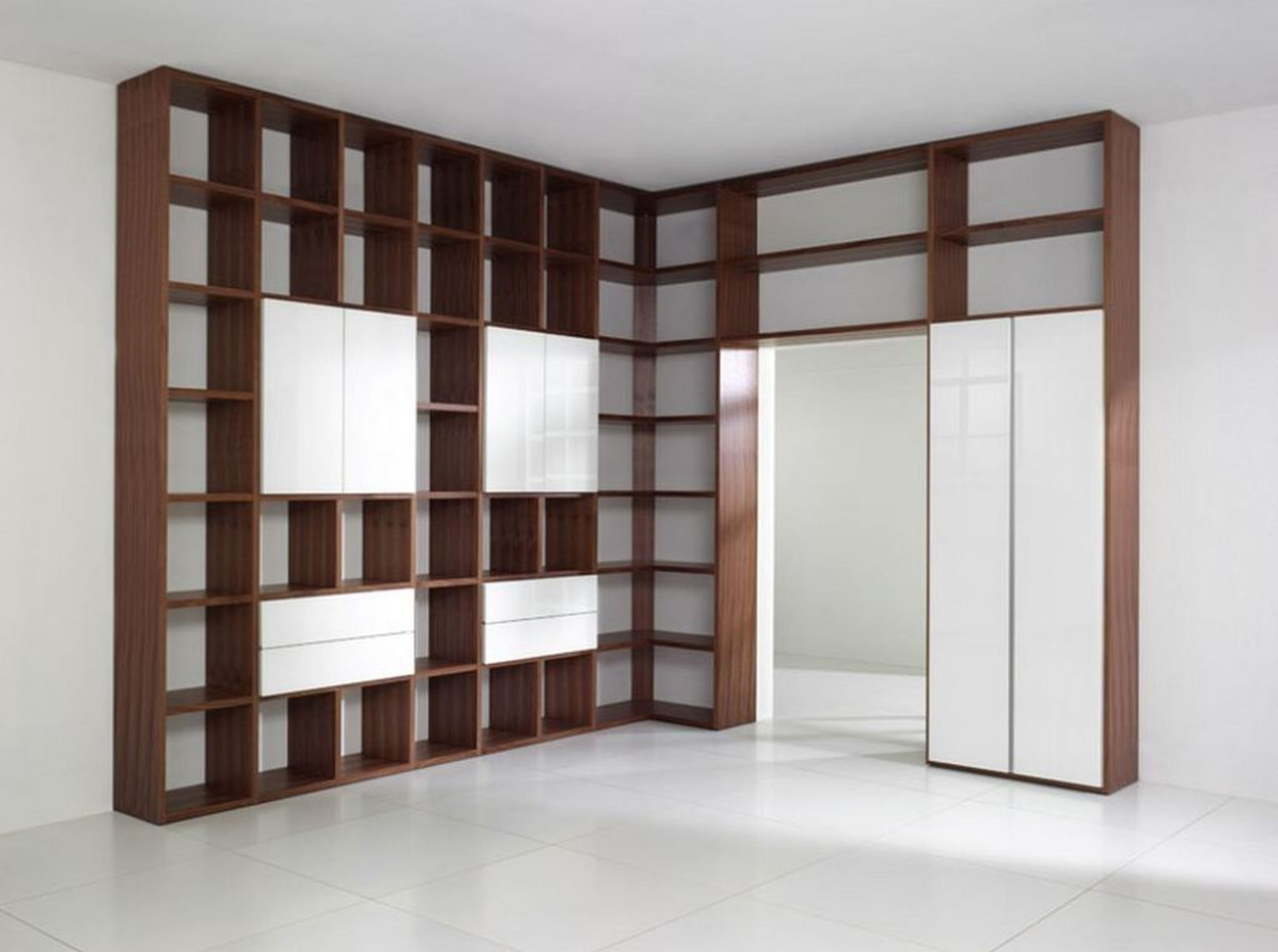 Astounding White Wooden Library Shelves Combined With Brown Ladder With Trendy Whole Wall Shelves (View 6 of 15)