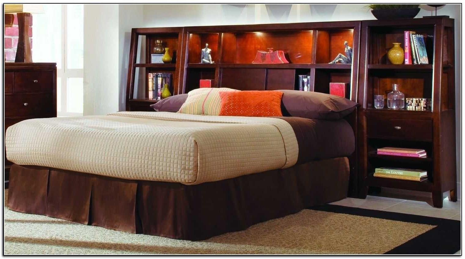 Attractive Queen Storage Bed With Bookcase Headboard And King With Regard To Most Popular Bookcases Headboard King (View 2 of 15)