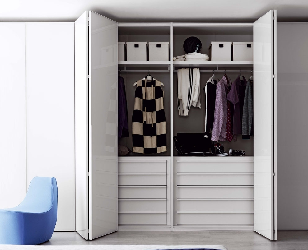 Awesome Bifold Closet Doors Design For Easier Move: Chic Closet Within Famous Folding Door Wardrobes (View 1 of 15)