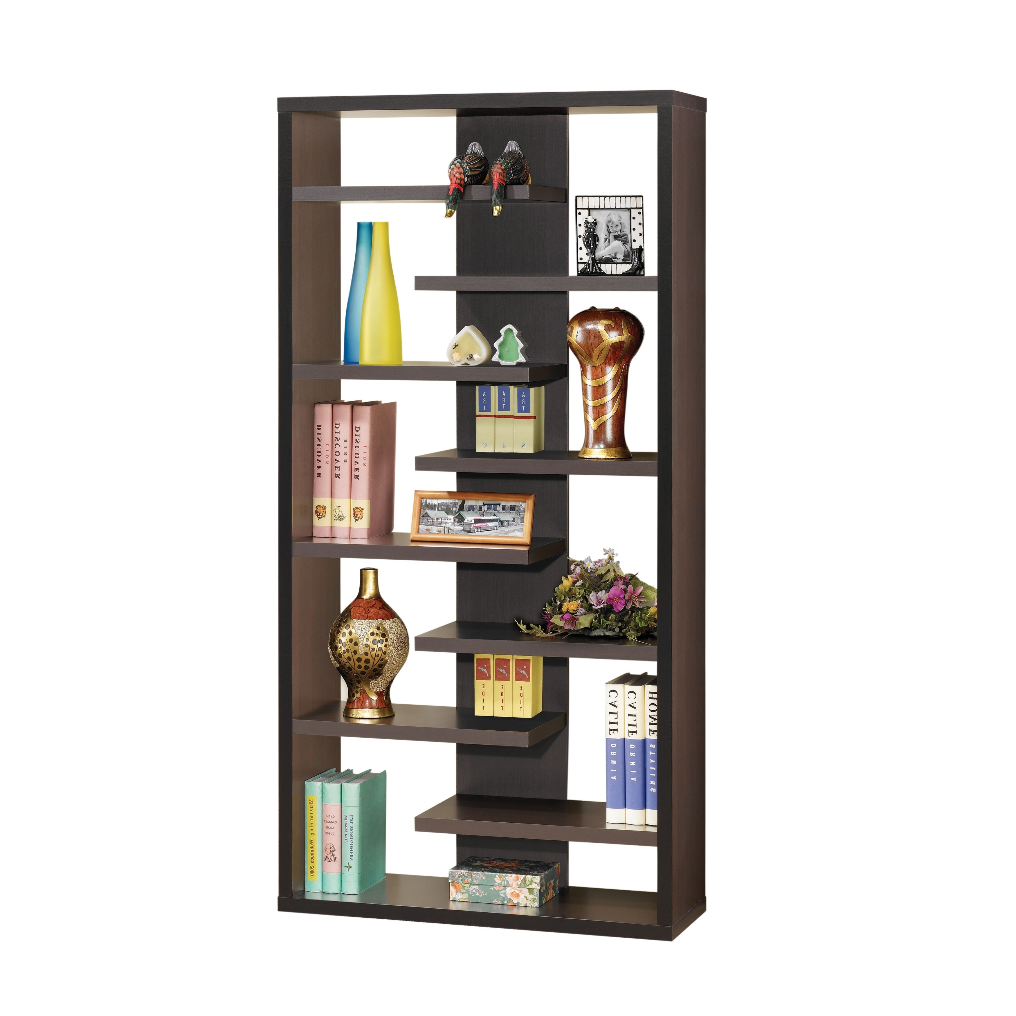 Backless Bookshelves For Well Known Coaster Company 8 Shelf Cappuccino Bookshelf – Free Shipping Today (View 12 of 15)