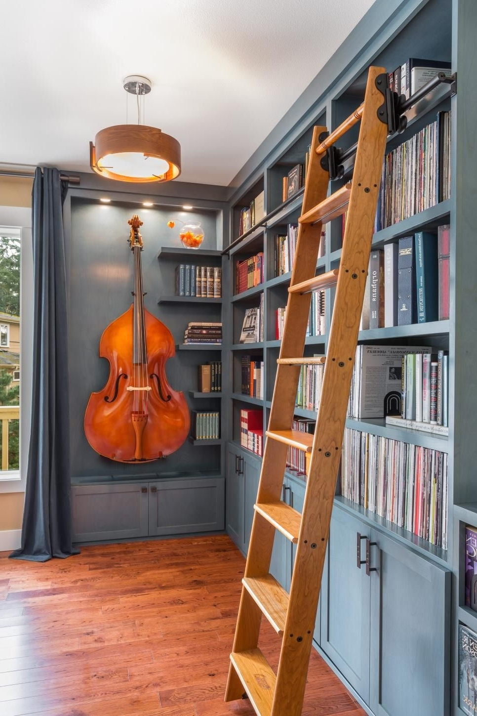 Beautiful Blue Home Library Nook Was Once A Disused Corner (View 3 of 15)