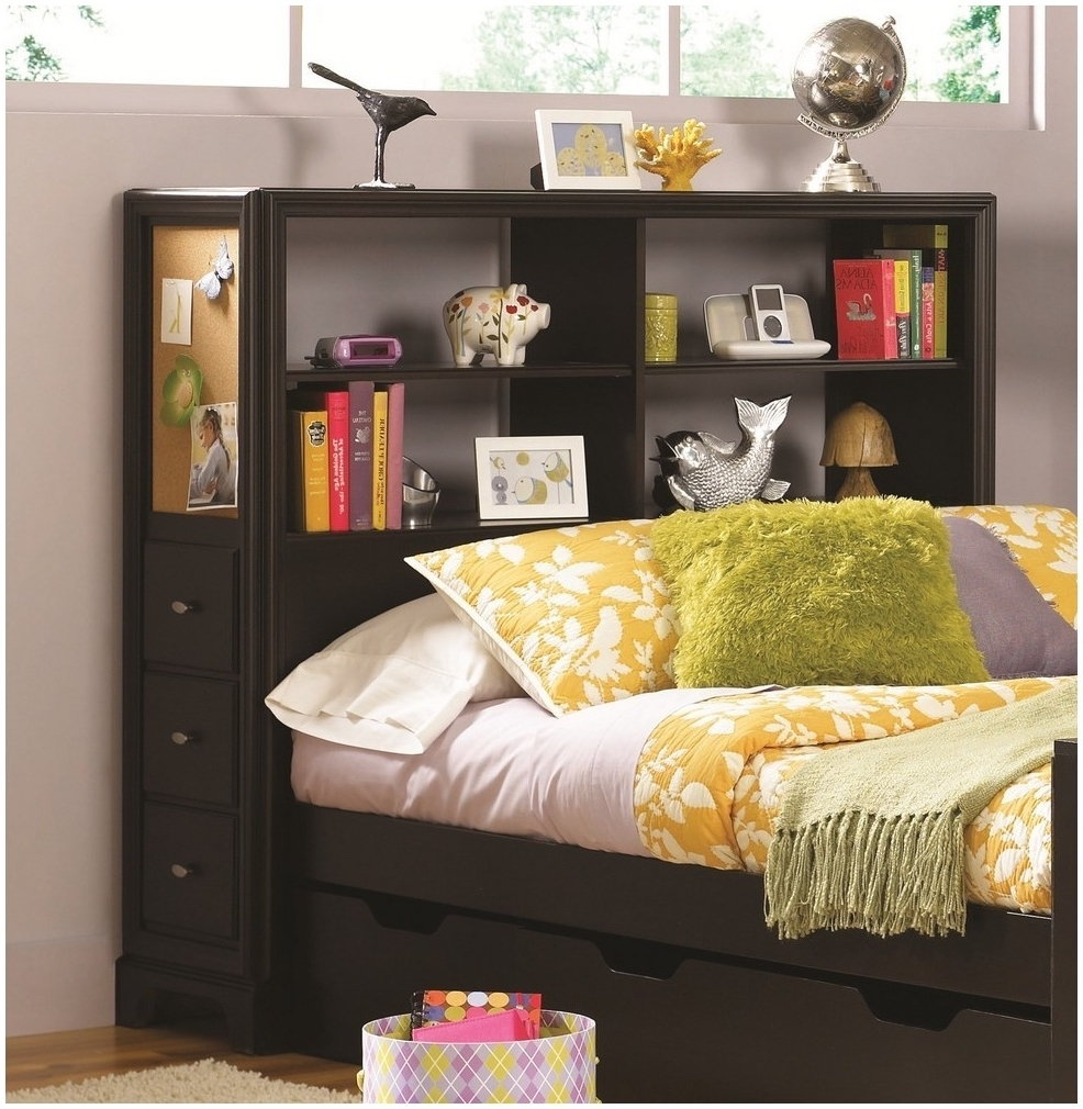 Bed Frames : Brown Wooden With Double Storage On The Front Side Throughout Well Known Bed Frame Bookcases (View 5 of 15)