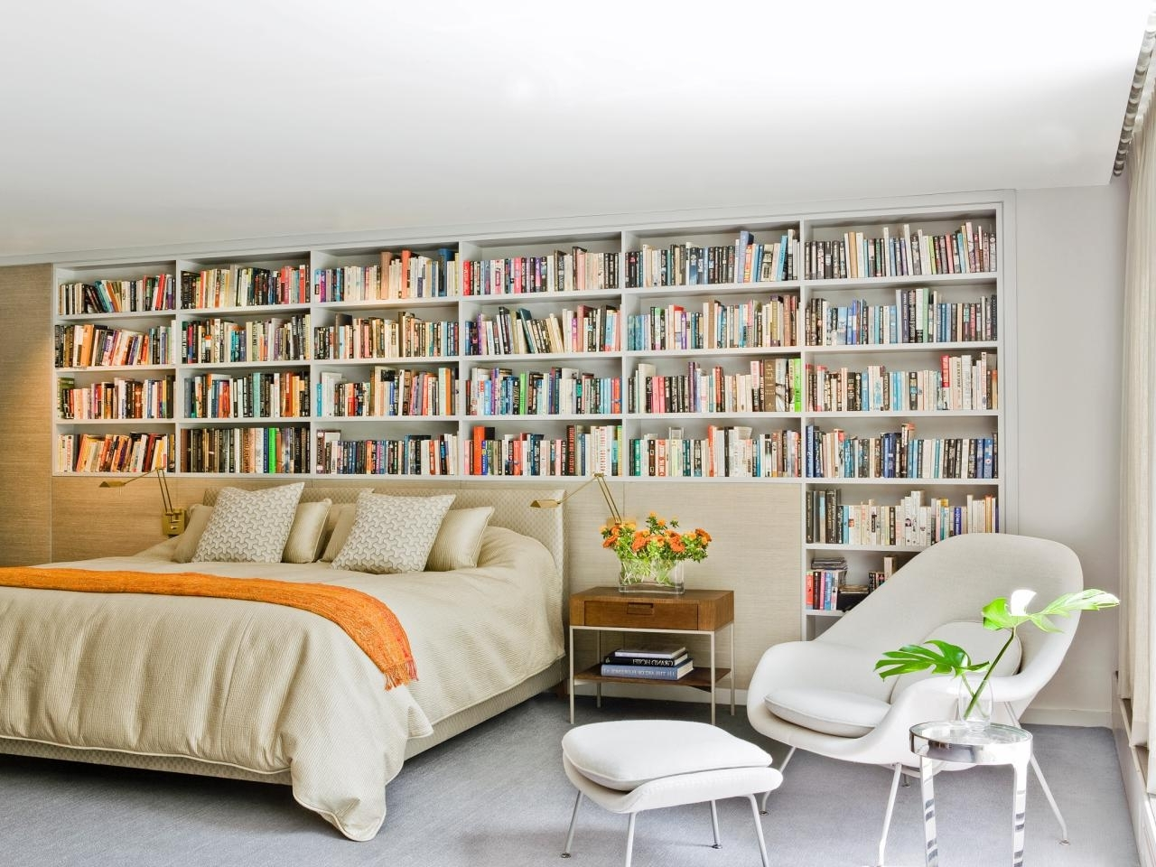 Bedroom Bookcases Within Favorite Wall Bookshelves In Your Bedroom For Private Library (View 4 of 15)