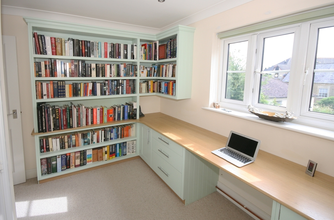 Bespoke Hand Painted Home Office With Oak Desk, Enlargement 2 For Preferred Library Cupboards (View 7 of 15)