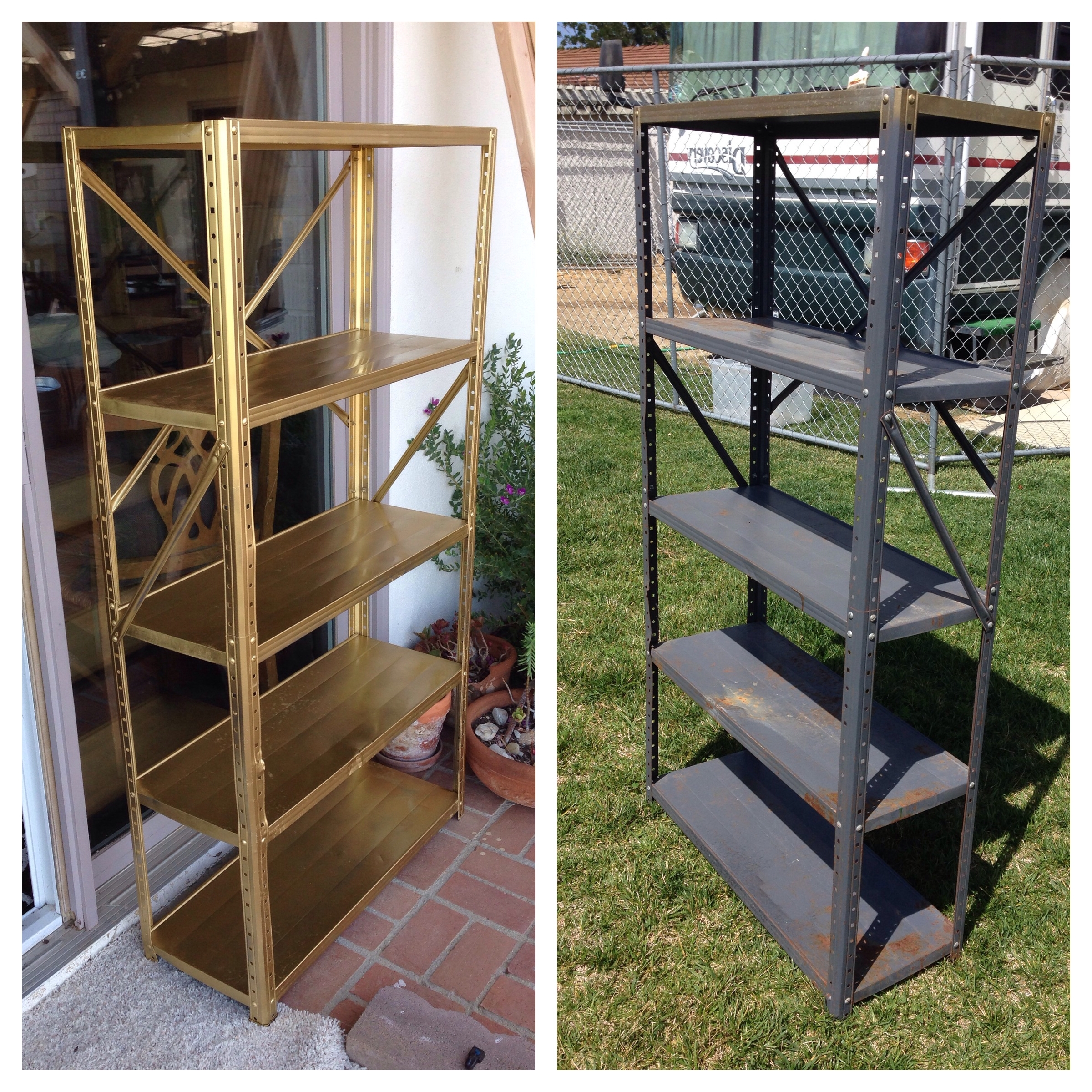 Best And Newest $5 Old Metal Shelf Transformed With Sandpaper And Gold Spray Paint With Regard To Gold Metal Bookcases (View 13 of 15)