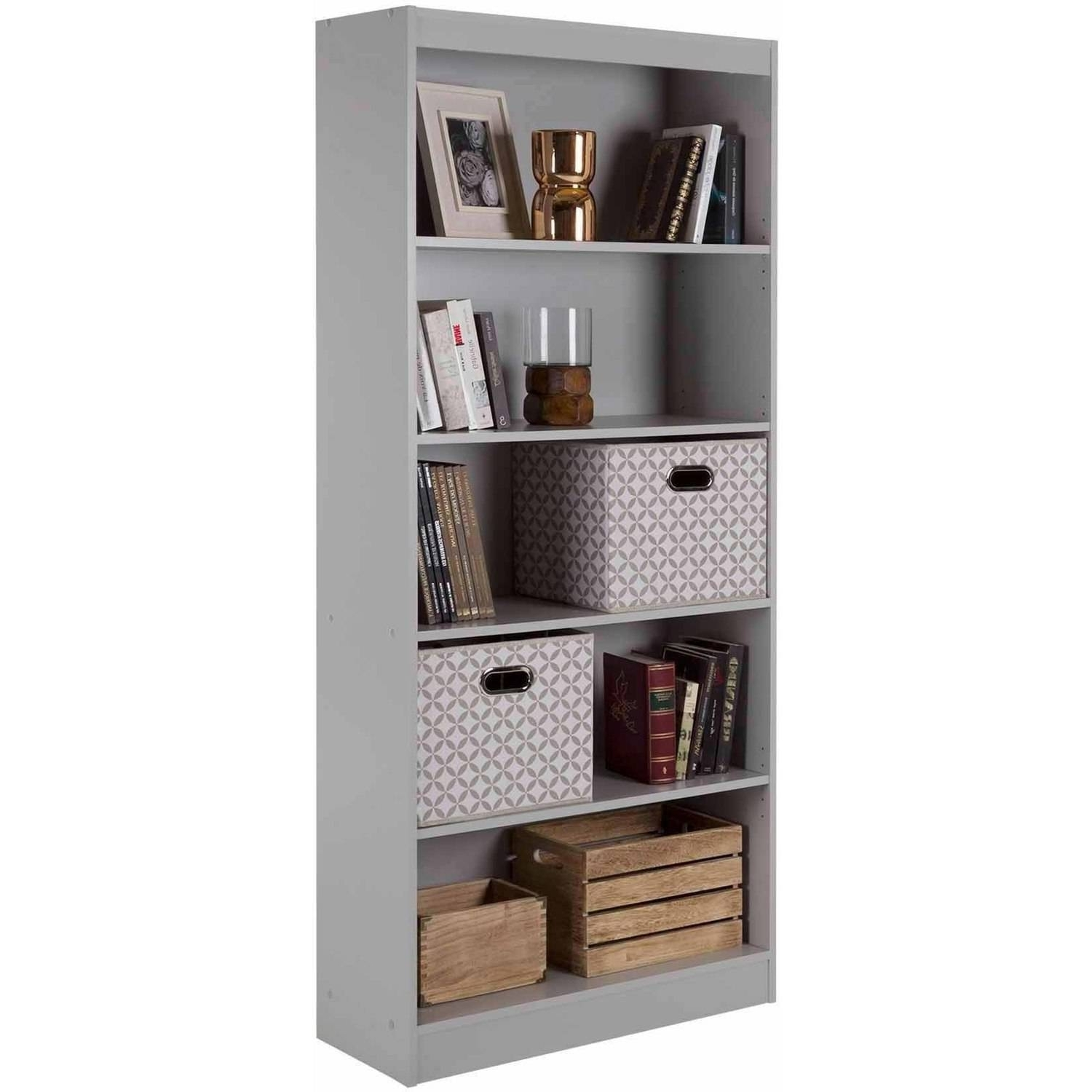 Best And Newest 5 Shelf Bookcase Black White Gray Brown Storage Bookshelf Wood Regarding South Shore Axess Collection 5 Shelf Bookcases (View 5 of 15)