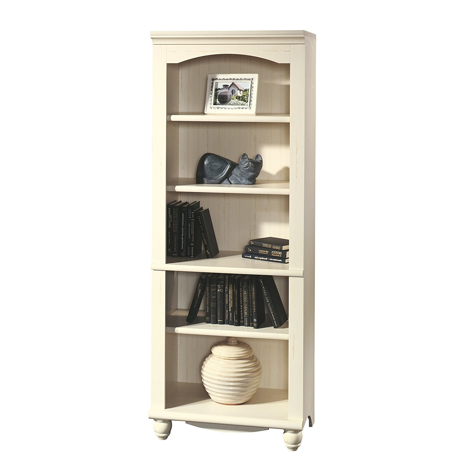 Best And Newest Amazon: Sauder 158085 Harbor View Library, Antiqued White With Regard To Antique White Bookcases (View 3 of 15)