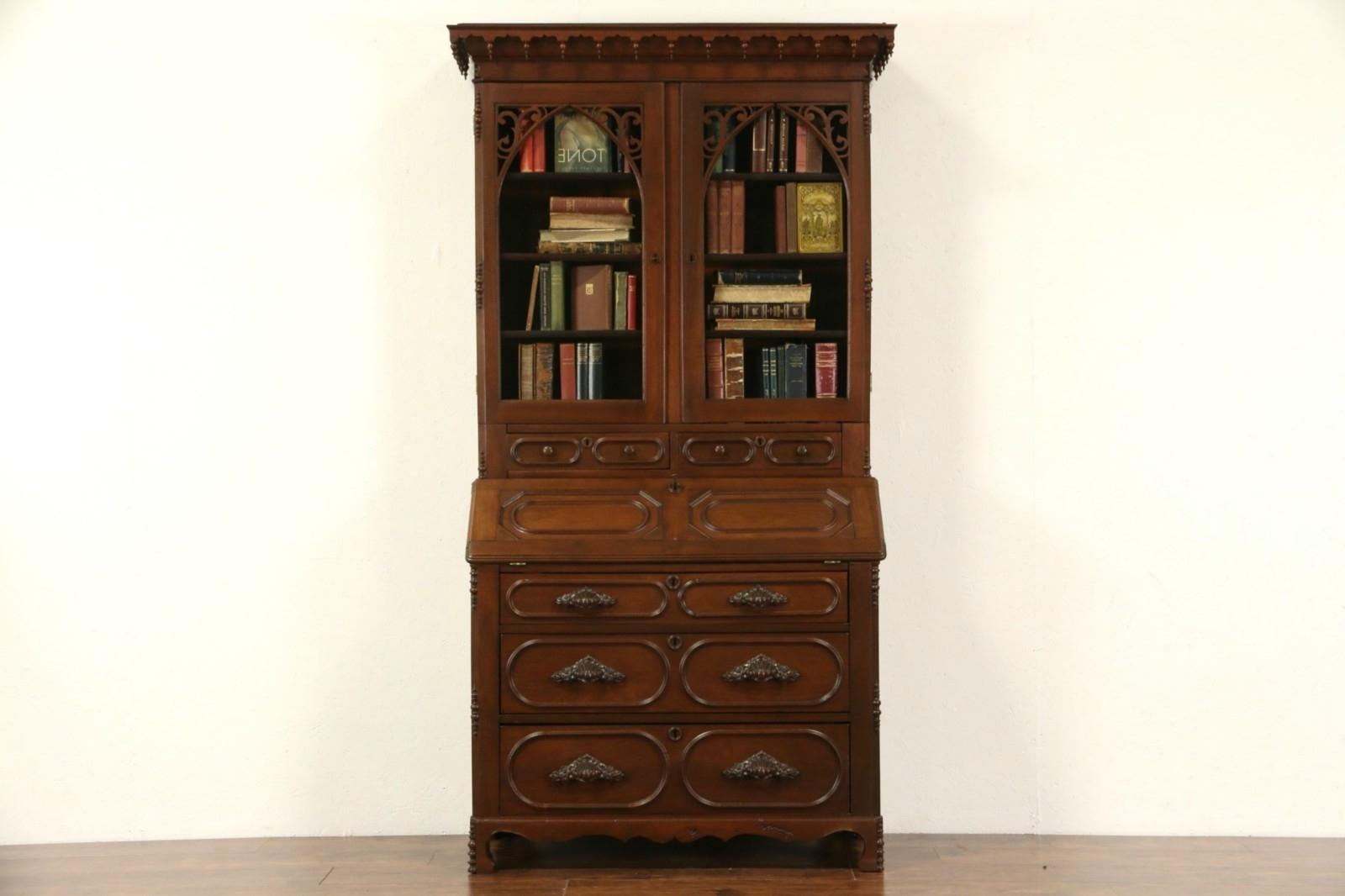 Best And Newest Antique Secretary Desk With Bookcases With Sold – Victorian Steamboat Gothic 1850's Antique Secretary Desk (View 10 of 15)