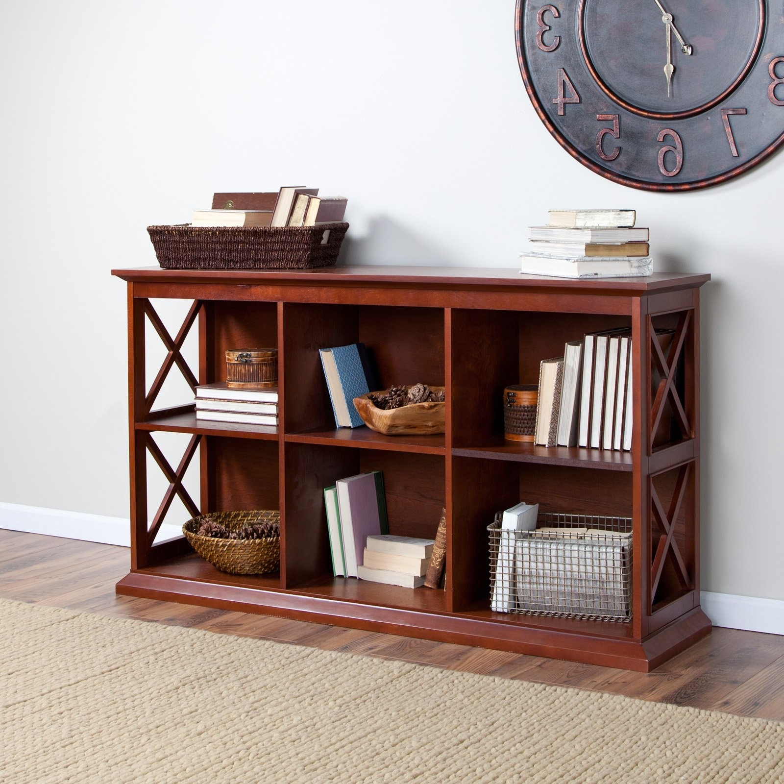 Best And Newest Belham Living Hampton Tv Stand Bookcase – Cherry (View 11 of 15)