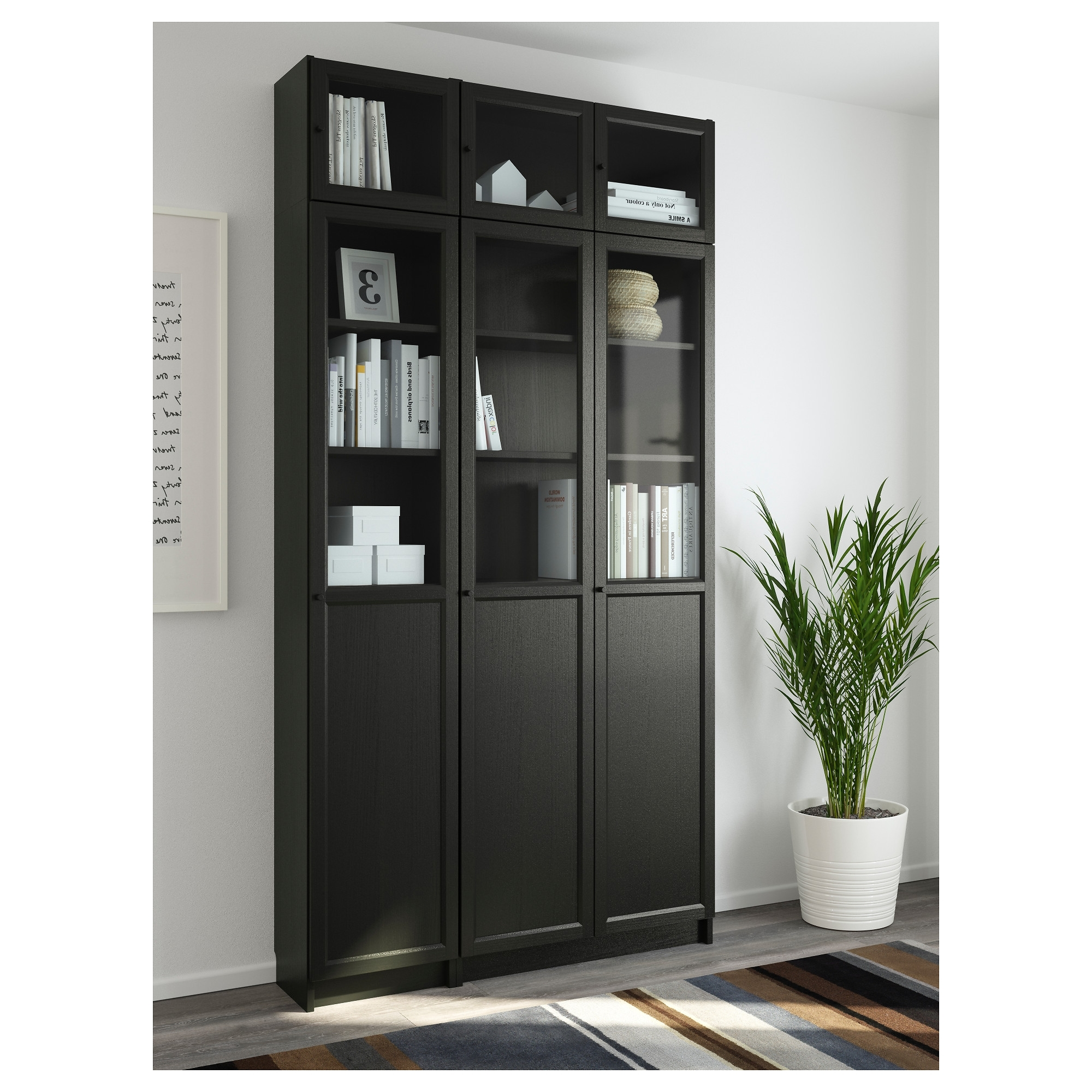 Best And Newest Black Bookcases With Doors Regarding Billy / Oxberg Bookcase – Black Brown/glass – Ikea (View 14 of 15)