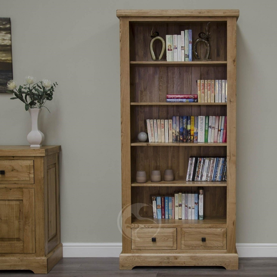 Best And Newest Coniston Rustic Solid Oak Tall Bookcase With Drawers (View 2 of 15)