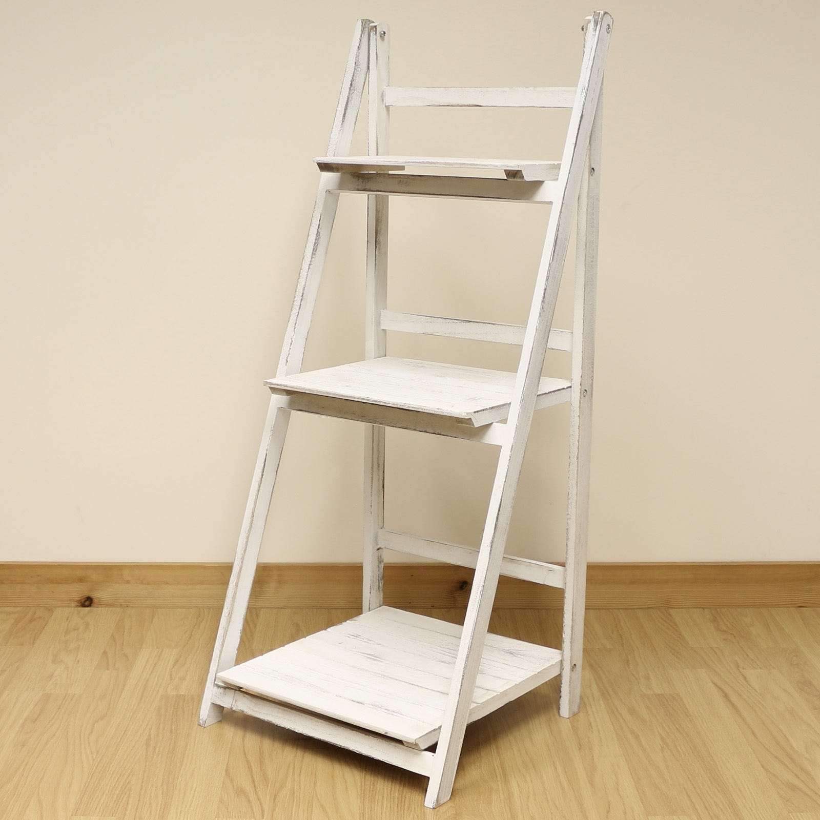 Best And Newest Free Standing Shelving Units Wood Inside Simple White Wooden Ladder Shelf (View 1 of 15)