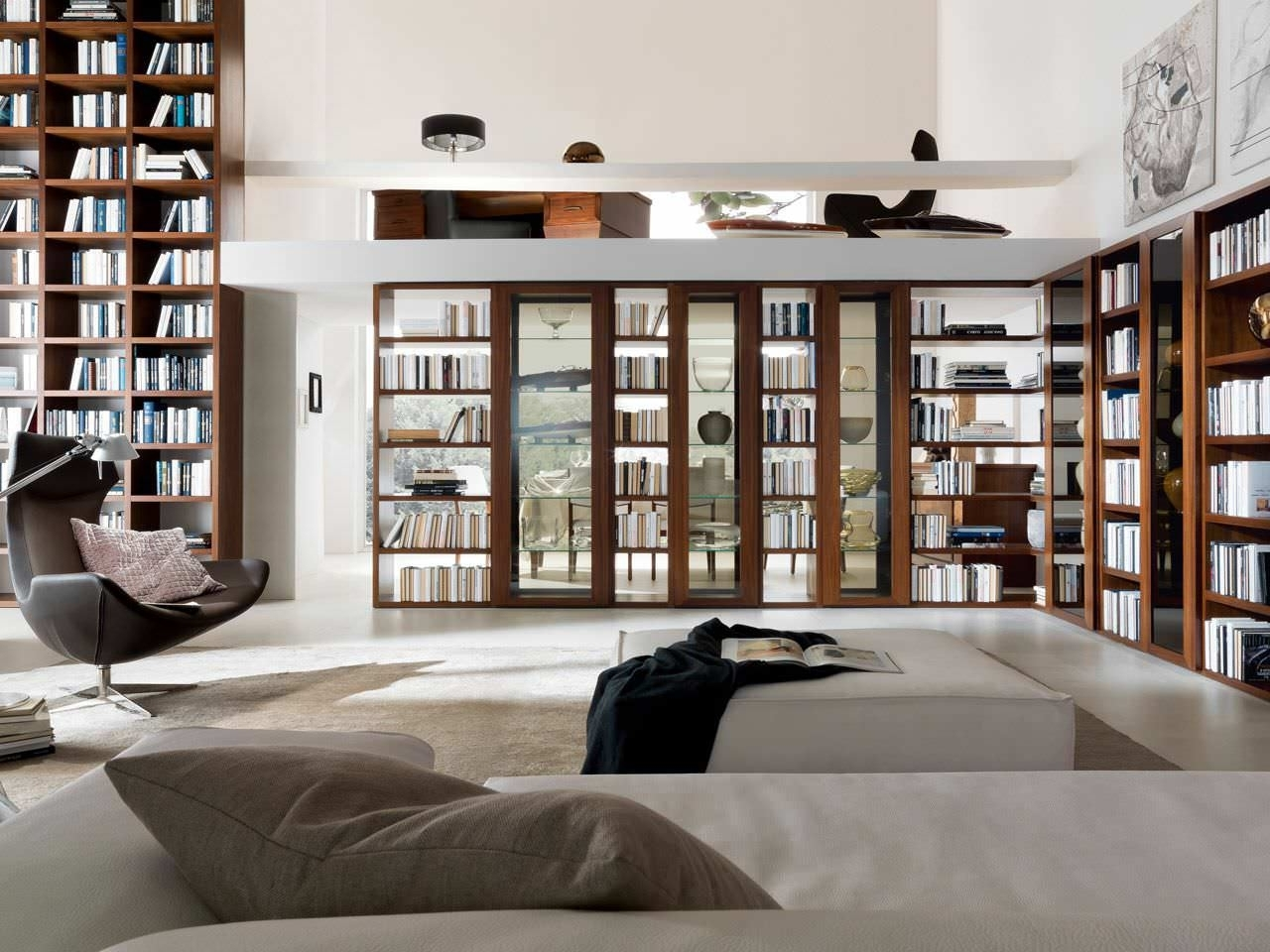 Best And Newest Home Library Shelving System Pertaining To Home Library Furniture: Amazing White Home Library Design With (View 3 of 15)