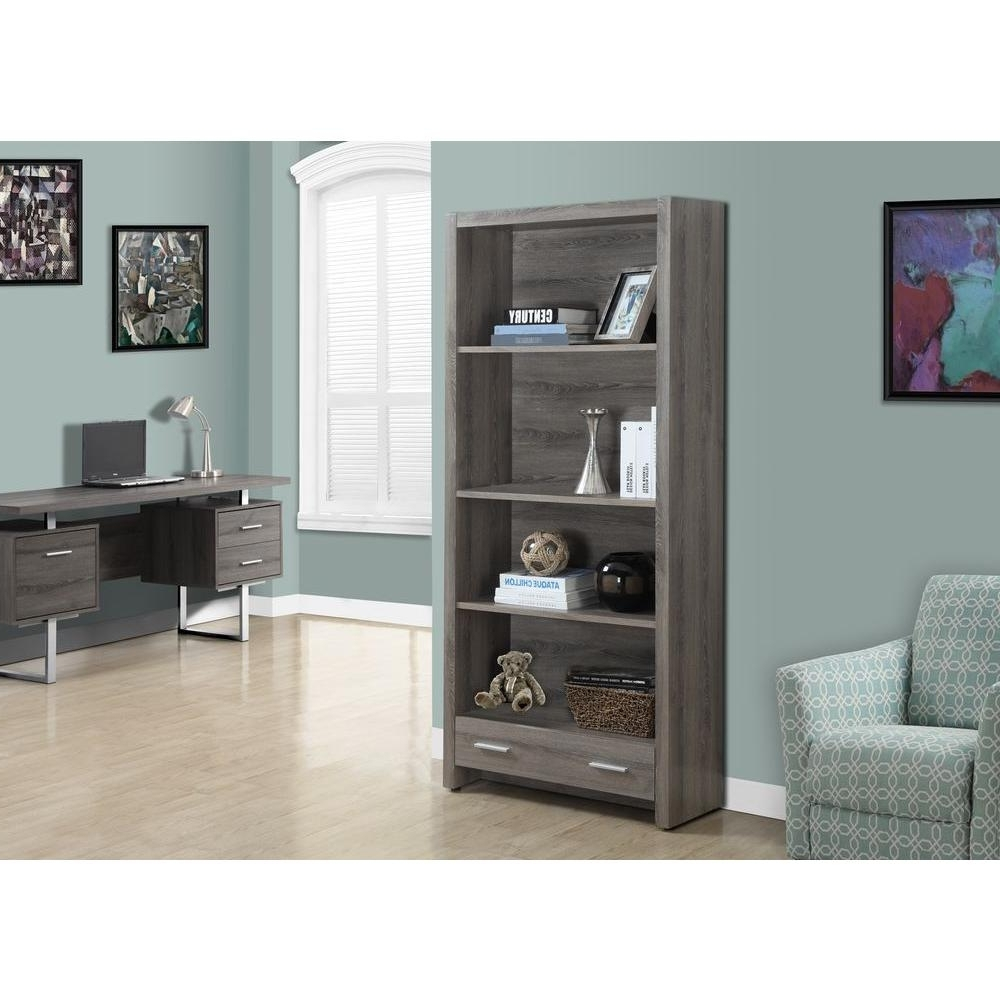 Best And Newest Monarch Specialties Dark Taupe Storage Open Bookcase I 7087 – The Within Monarch Bookcases (View 2 of 15)
