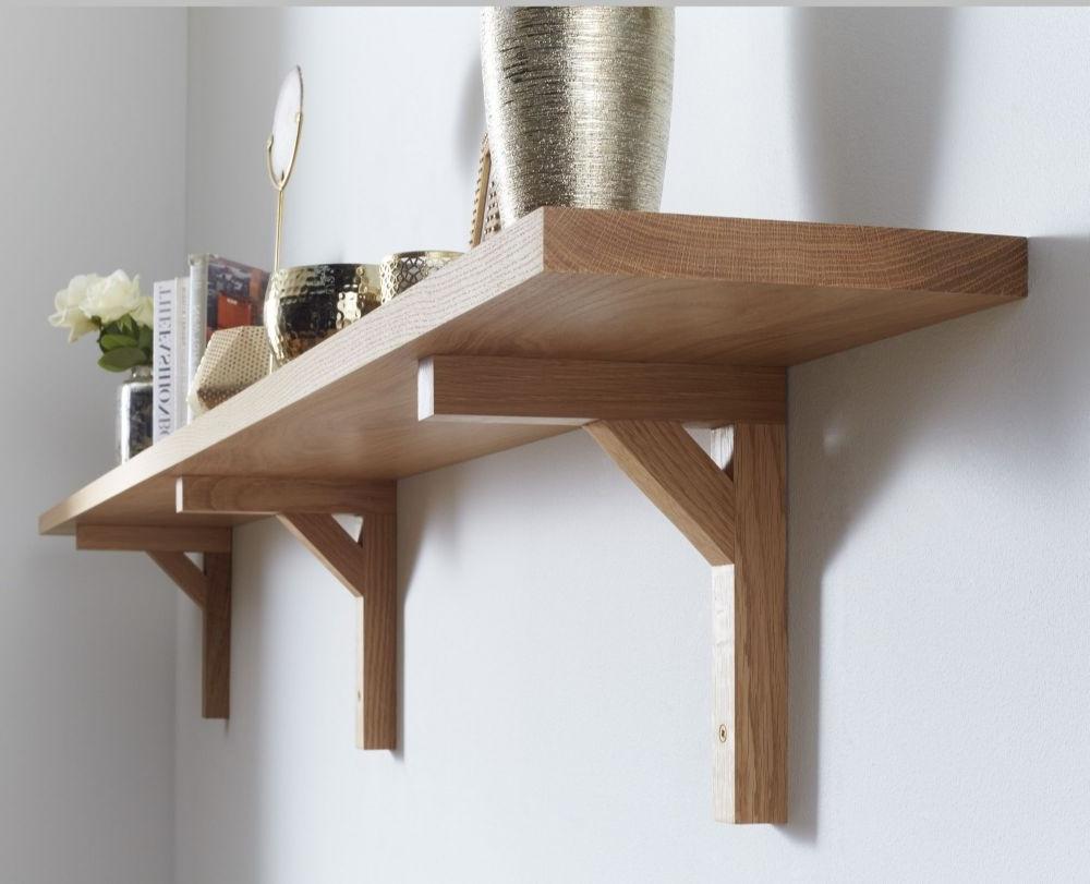 Best And Newest Oak Wall Shelf Solid American White Oak Modern Oak Brackets Intended For Oak Wall Shelves (View 2 of 15)