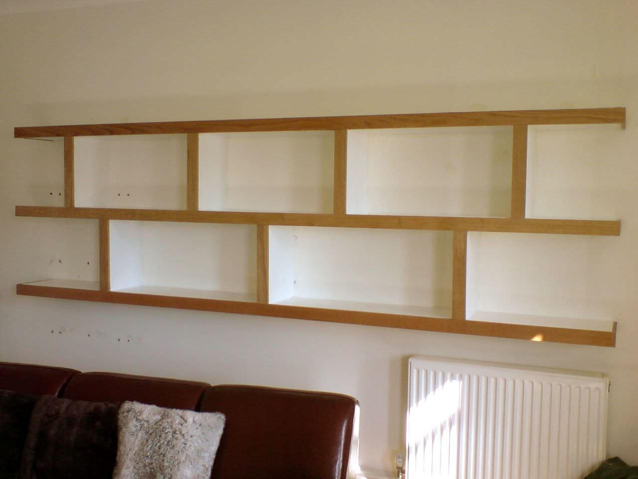 Best And Newest Oak Wall Shelving Units In Andreas Wall Mounted Shelving Unit In Sand Oak And Compartment (View 2 of 15)