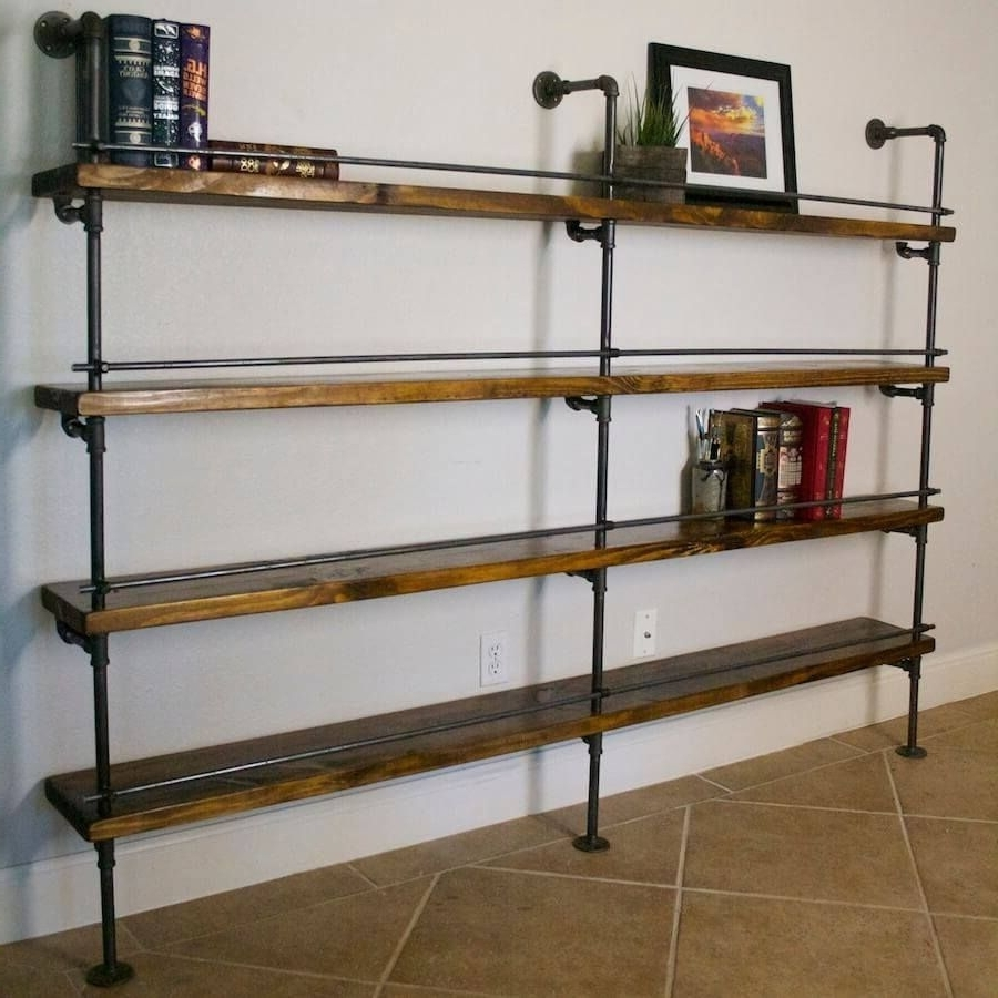 Best And Newest Pipe Bookcases With Industrial Pipe Shelving With Bottle Stop Bars (View 7 of 15)