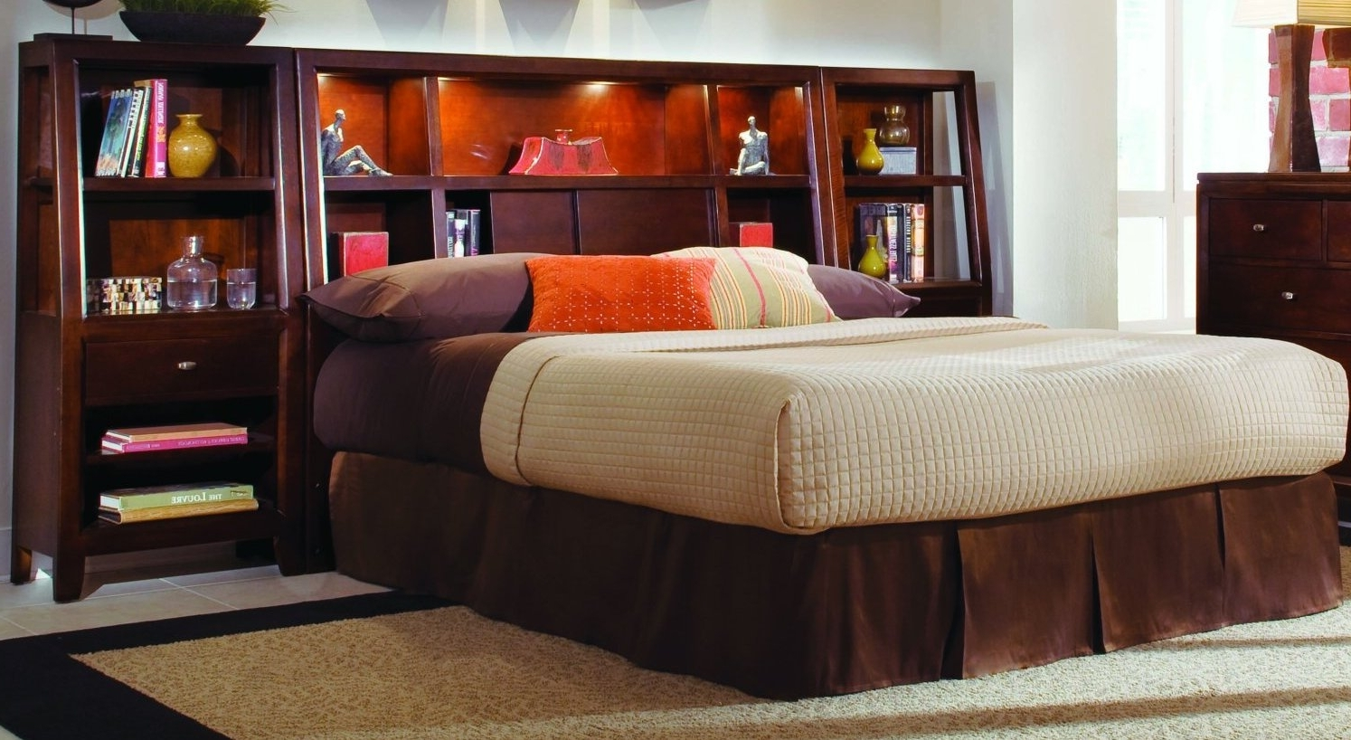 Best And Newest Queen Bookcase Headboard Modern House Design : Beautiful Bookcase Throughout Queen Bookcases Headboard (View 12 of 15)