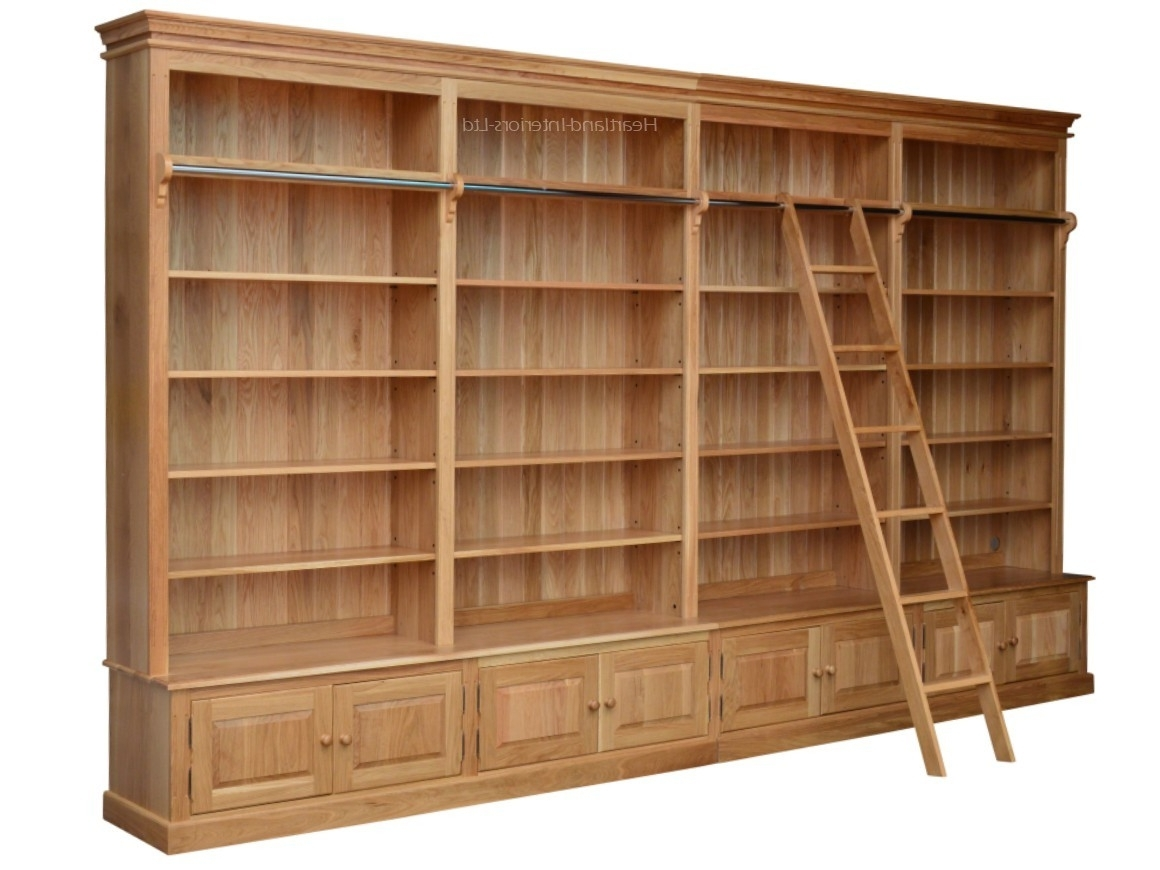 Best And Newest Traditional Solid Oak 8ft X 14ft Library Bookcase With Ladder For Library Cupboards (View 9 of 15)