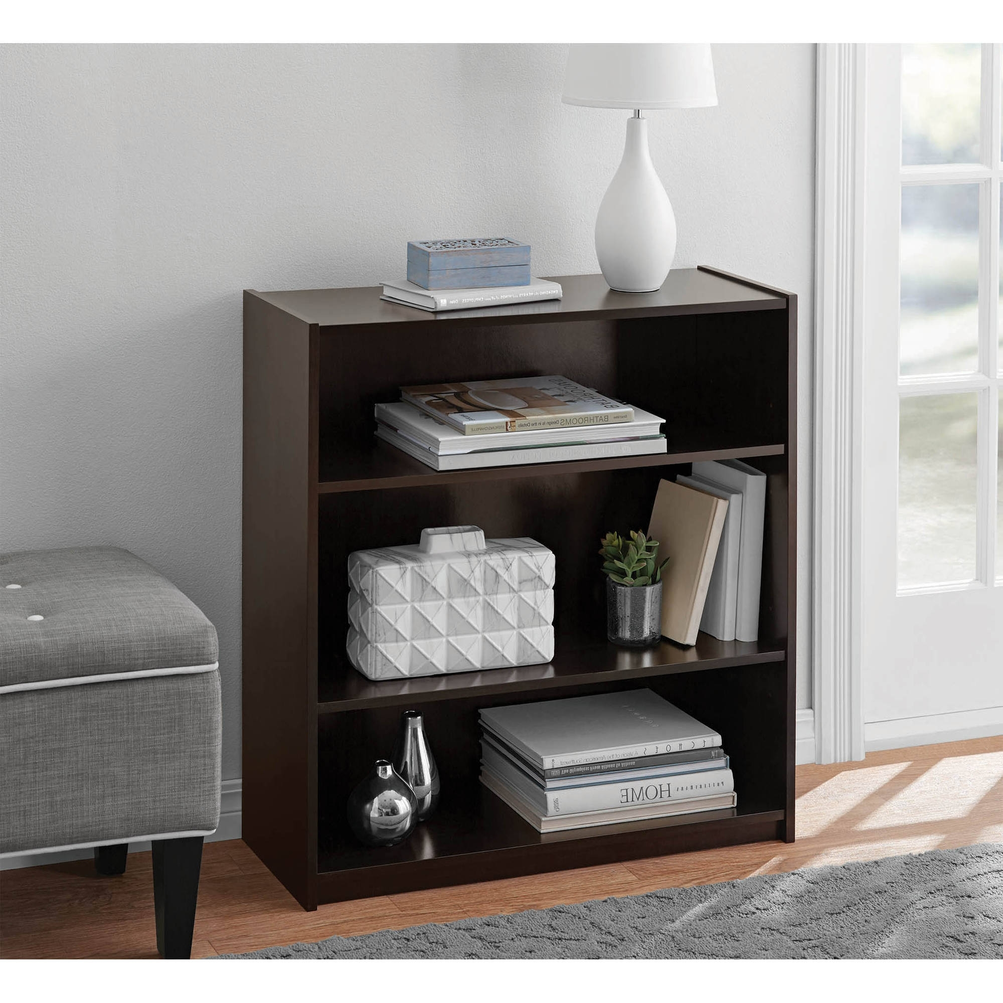 Best And Newest Walmart 3 Shelf Bookcases Regarding Mainstays 3 Shelf Standard Bookcase, Multiple Colors – Walmart (View 10 of 15)