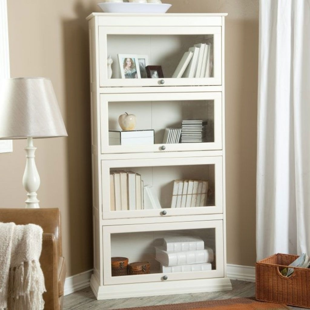 Best And Newest White Wood Bookcases Inside Library Cabinet With Glass Doors Furniture Amusing Design Of Tall (View 2 of 15)